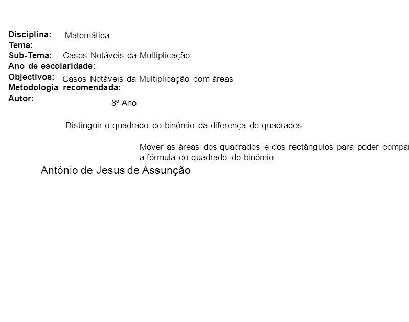 Disciplina: Tema: Sub-Tema: Ano de escolaridade: Objectivos: Metodologia recomendada: Autor: Matemática António de Jesus de Assunção Casos Notáveis da