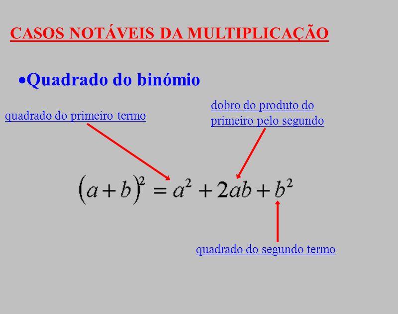 CASOS NOTÁVEIS DA MULTIPLICAÇÃO Quadrado do binómio quadrado do primeiro termo dobro do produto do primeiro pelo segundo quadrado do segundo termo
