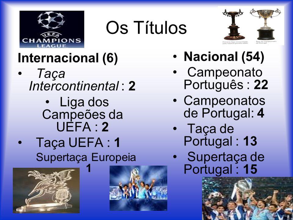 Os Títulos Internacional (6) Taça Intercontinental : 2 Liga dos Campeões da UEFA : 2 Taça UEFA : 1 Supertaça Europeia 1 Nacional (54) Campeonato Portu
