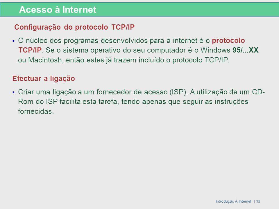 Introdução À Internet | 13 Configuração do protocolo TCP/IP O núcleo dos programas desenvolvidos para a internet é o protocolo TCP/IP. Se o sistema op