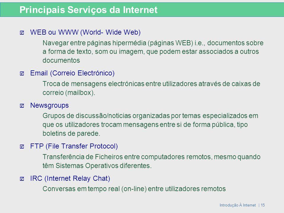 Introdução À Internet | 15 Principais Serviços da Internet WEB ou WWW (World- Wide Web) Navegar entre páginas hipermédia (páginas WEB) i.e., documento