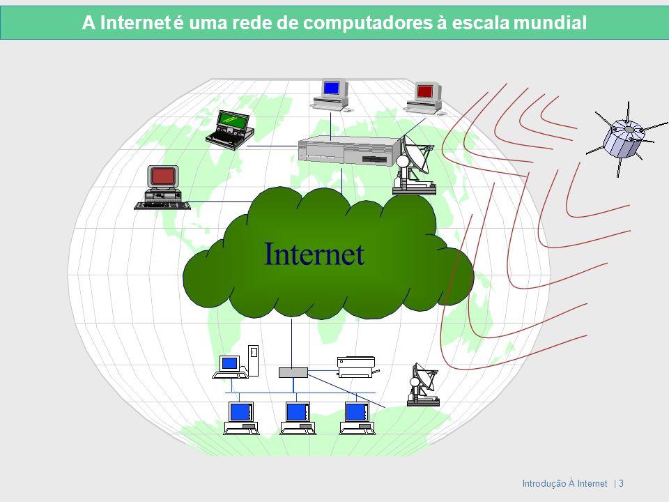 Introdução À Internet | 3 Internet A Internet é uma rede de computadores à escala mundial