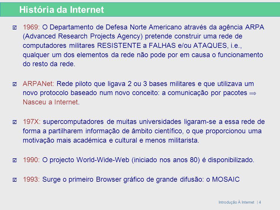 Introdução À Internet | 4 História da Internet 1969: O Departamento de Defesa Norte Americano através da agência ARPA (Advanced Research Projects Agen