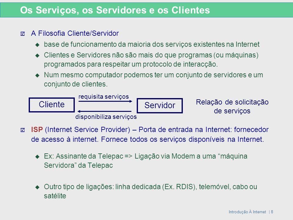 Introdução À Internet | 8 A Filosofia Cliente/Servidor base de funcionamento da maioria dos serviços existentes na Internet Clientes e Servidores não