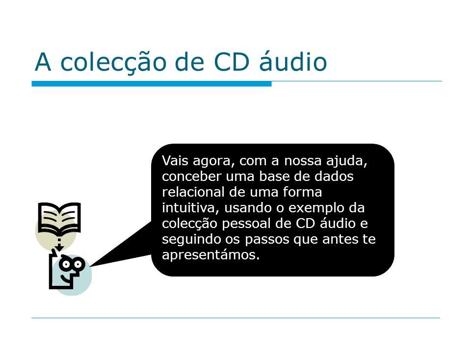 A colecção de CD áudio Vais agora, com a nossa ajuda, conceber uma base de dados relacional de uma forma intuitiva, usando o exemplo da colecção pesso