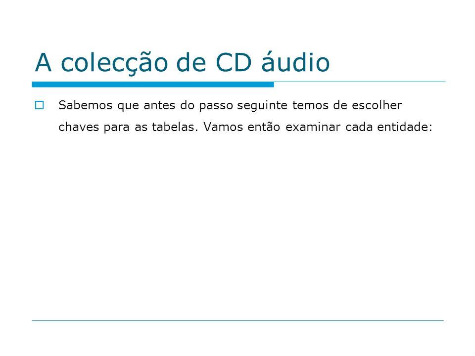 A colecção de CD áudio Sabemos que antes do passo seguinte temos de escolher chaves para as tabelas. Vamos então examinar cada entidade: