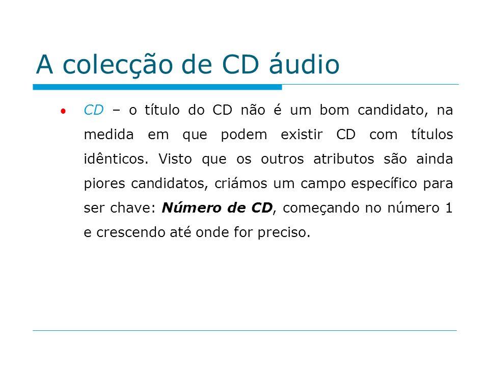 A colecção de CD áudio CD – o título do CD não é um bom candidato, na medida em que podem existir CD com títulos idênticos. Visto que os outros atribu