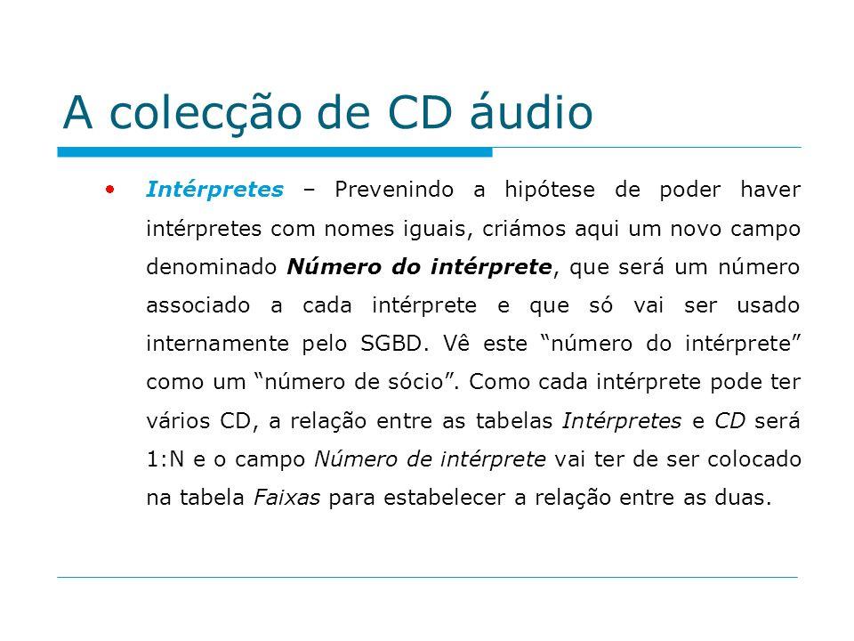 A colecção de CD áudio Intérpretes – Prevenindo a hipótese de poder haver intérpretes com nomes iguais, criámos aqui um novo campo denominado Número d