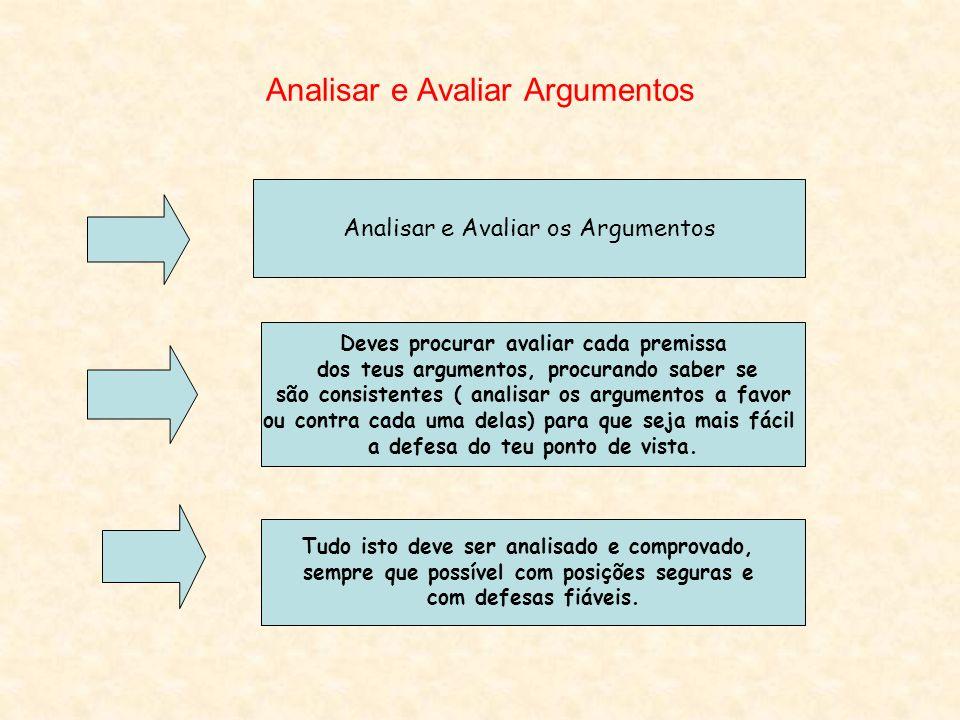 Analisar e Avaliar Argumentos Analisar e Avaliar os Argumentos Deves procurar avaliar cada premissa dos teus argumentos, procurando saber se são consi
