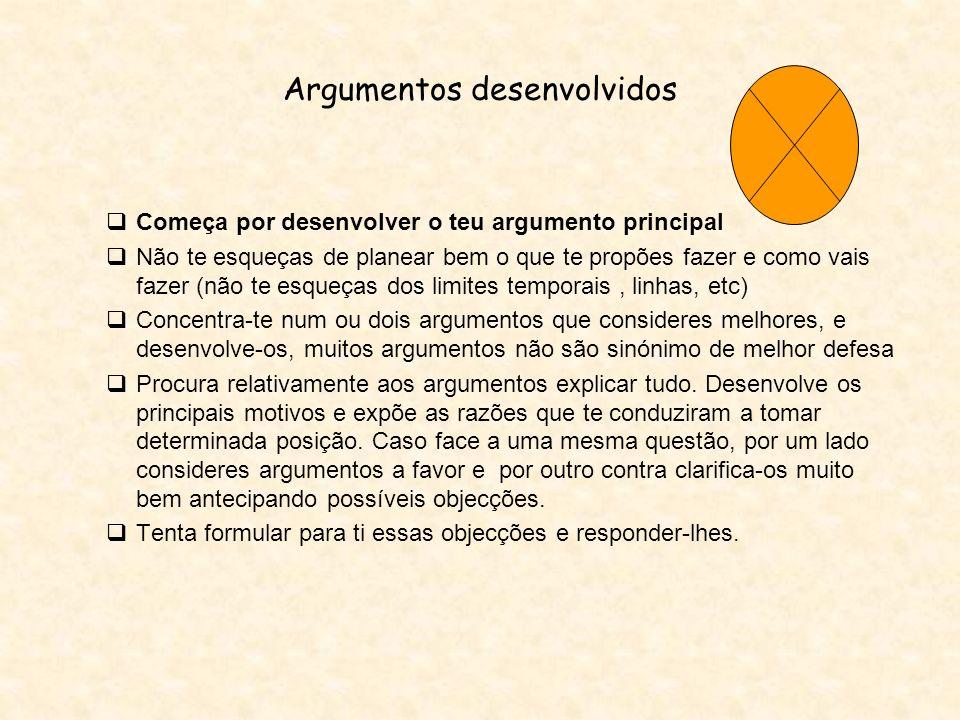Argumentos desenvolvidos Começa por desenvolver o teu argumento principal Não te esqueças de planear bem o que te propões fazer e como vais fazer (não