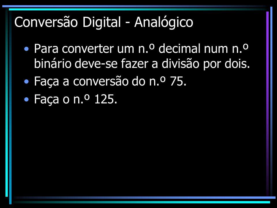 Conversão Digital - Analógico Para converter um n.º decimal num n.º binário deve-se fazer a divisão por dois. Faça a conversão do n.º 75. Faça o n.º 1