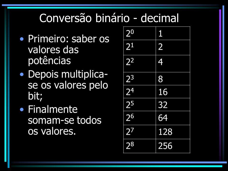 Conversão binário - decimal Primeiro: saber os valores das potências Depois multiplica- se os valores pelo bit; Finalmente somam-se todos os valores.