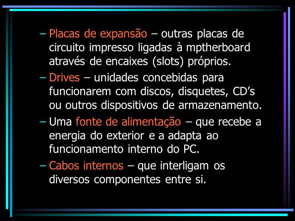 –Placas de expansão – outras placas de circuito impresso ligadas à mptherboard através de encaixes (slots) próprios. –Drives – unidades concebidas par