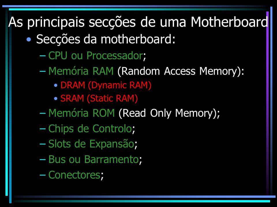 As principais secções de uma Motherboard Secções da motherboard: –CPU ou Processador; –Memória RAM (Random Access Memory): DRAM (Dynamic RAM) SRAM (St
