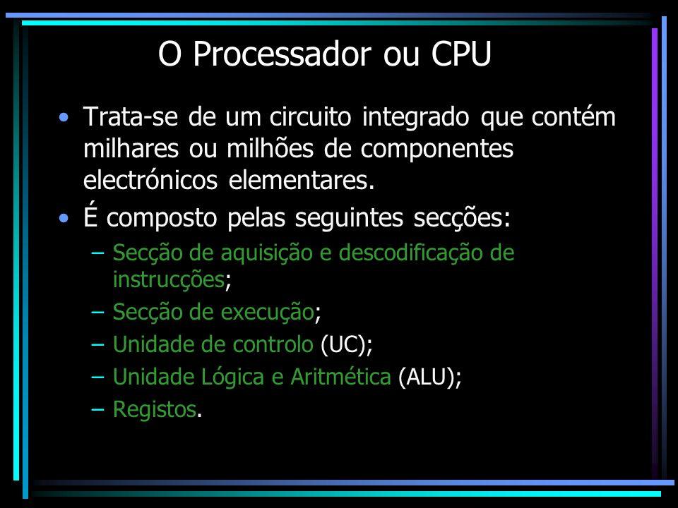 O Processador ou CPU Trata-se de um circuito integrado que contém milhares ou milhões de componentes electrónicos elementares. É composto pelas seguin