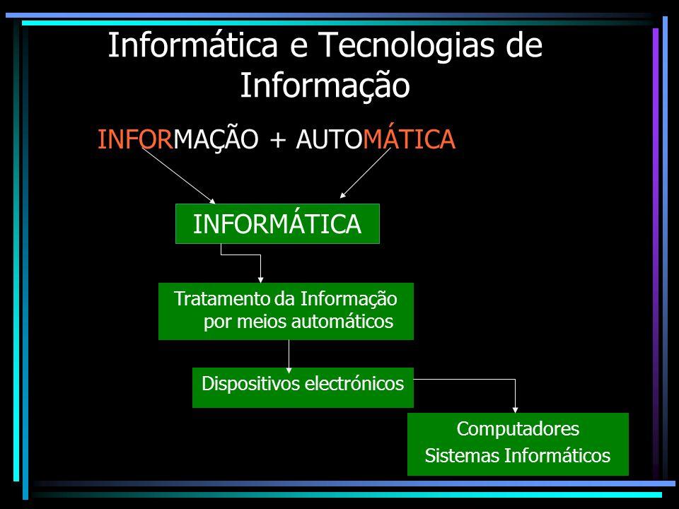 Tecnologias de Informação As Tecnologias de Informação dizem respeito a processos de Tratamento, controlo e comunicação de informação, baseados em meios electrónicos, portanto, computadores ou sistemas informáticos.