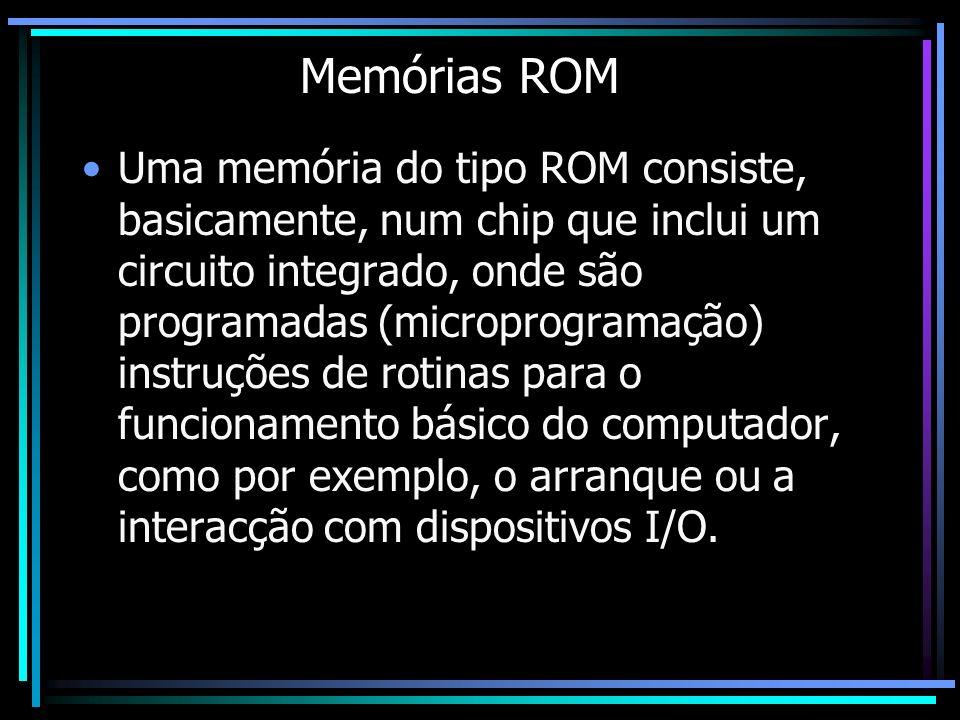 Memórias ROM Uma memória do tipo ROM consiste, basicamente, num chip que inclui um circuito integrado, onde são programadas (microprogramação) instruç