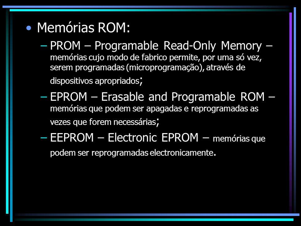 Memórias ROM: –PROM – Programable Read-Only Memory – memórias cujo modo de fabrico permite, por uma só vez, serem programadas (microprogramação), atra