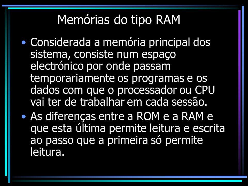 Memórias do tipo RAM Considerada a memória principal dos sistema, consiste num espaço electrónico por onde passam temporariamente os programas e os da