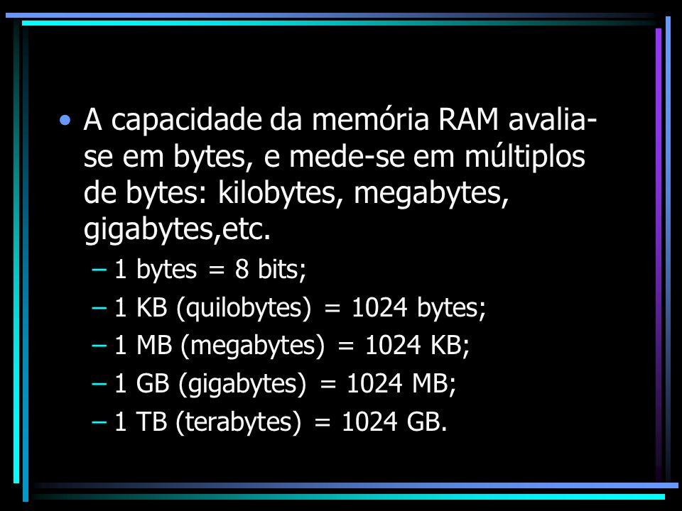 A capacidade da memória RAM avalia- se em bytes, e mede-se em múltiplos de bytes: kilobytes, megabytes, gigabytes,etc. –1 bytes = 8 bits; –1 KB (quilo