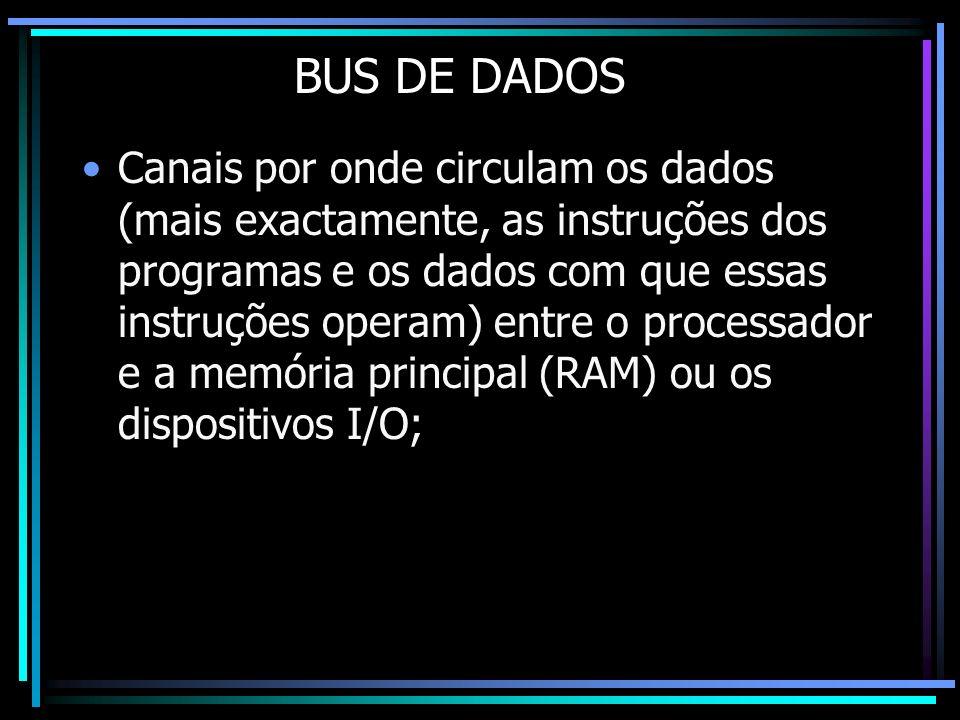 BUS DE DADOS Canais por onde circulam os dados (mais exactamente, as instruções dos programas e os dados com que essas instruções operam) entre o proc