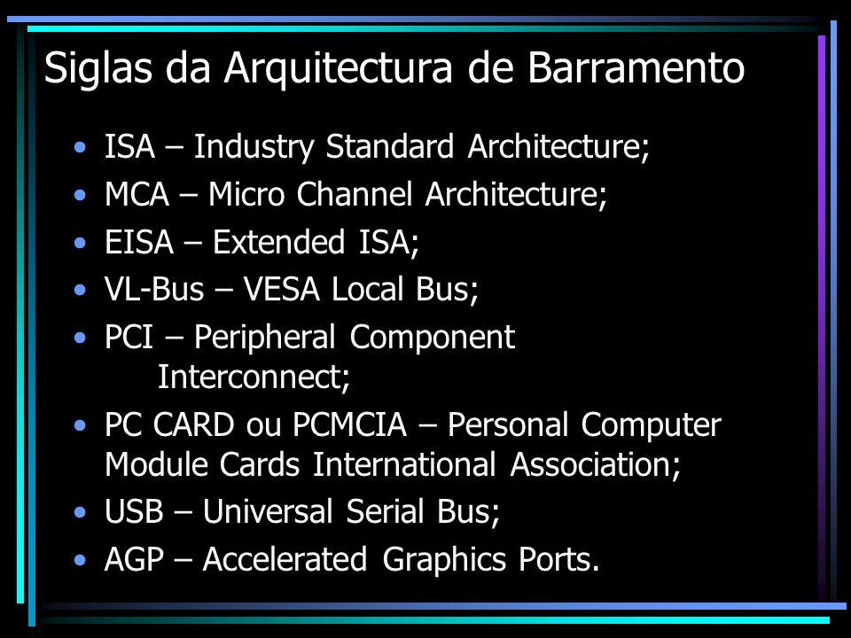Siglas da Arquitectura de Barramento ISA – Industry Standard Architecture; MCA – Micro Channel Architecture; EISA – Extended ISA; VL-Bus – VESA Local