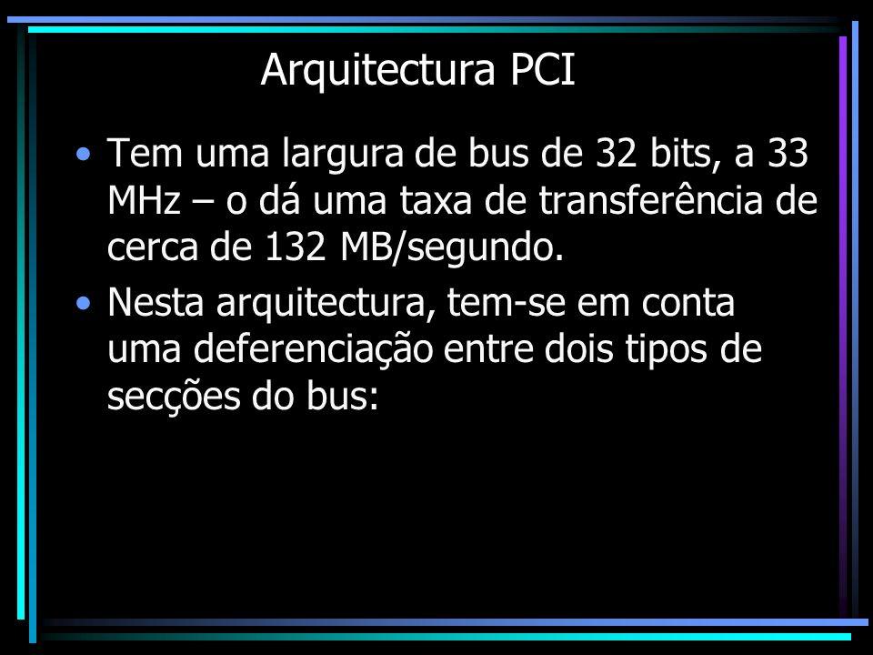 Arquitectura PCI Tem uma largura de bus de 32 bits, a 33 MHz – o dá uma taxa de transferência de cerca de 132 MB/segundo. Nesta arquitectura, tem-se e