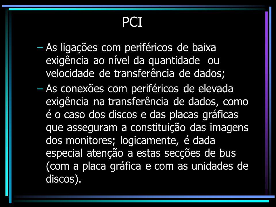 PCI –As ligações com periféricos de baixa exigência ao nível da quantidade ou velocidade de transferência de dados; –As conexões com periféricos de el