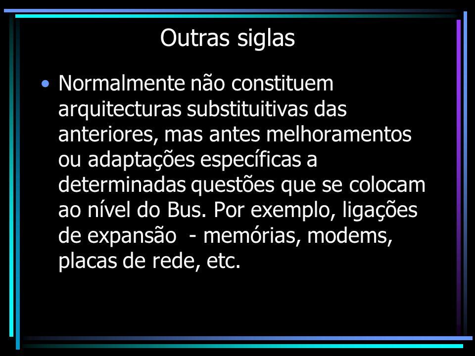 Outras siglas Normalmente não constituem arquitecturas substituitivas das anteriores, mas antes melhoramentos ou adaptações específicas a determinadas
