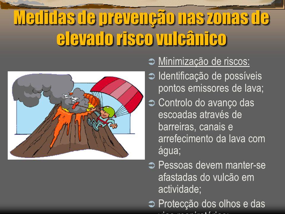 Medidas de prevenção nas zonas de elevado risco vulcânico Minimização de riscos: Identificação de possíveis pontos emissores de lava; Controlo do avan