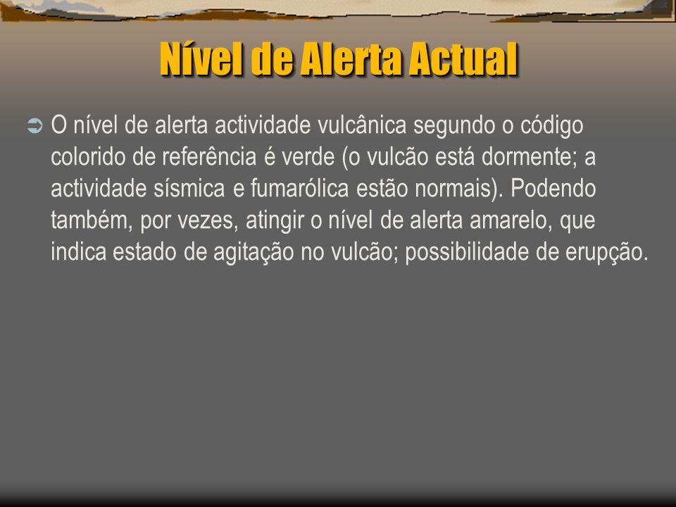 Nível de Alerta Actual O nível de alerta actividade vulcânica segundo o código colorido de referência é verde (o vulcão está dormente; a actividade sí