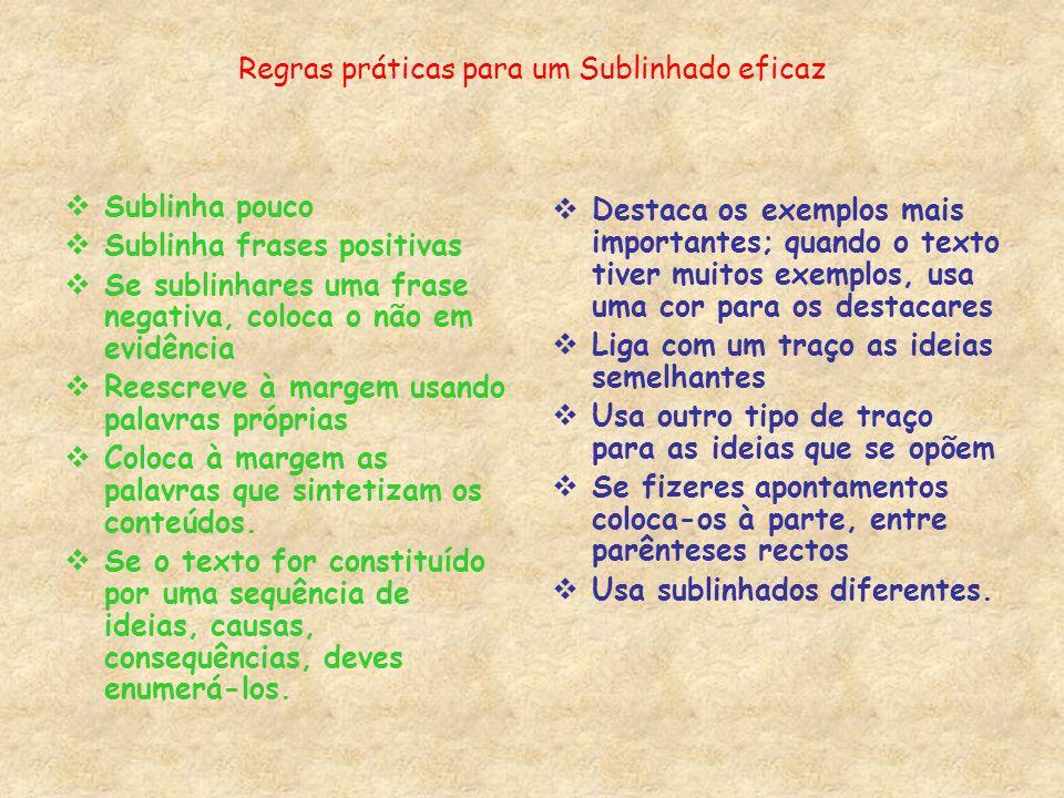 Regras práticas para um Sublinhado eficaz Sublinha pouco Sublinha frases positivas Se sublinhares uma frase negativa, coloca o não em evidência Reescr