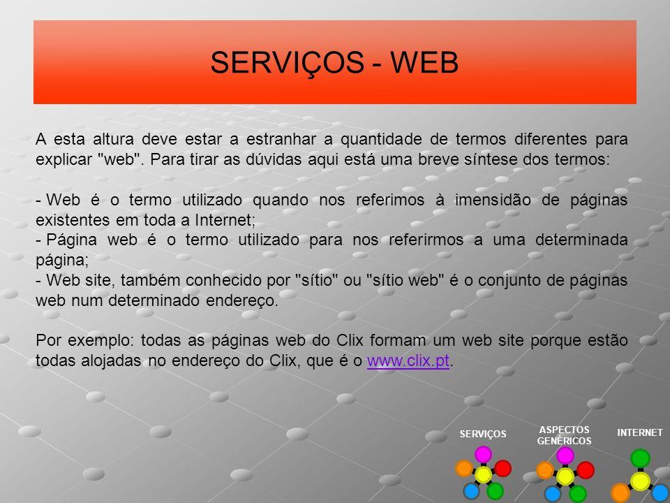 SERVIÇOS - WEB A esta altura deve estar a estranhar a quantidade de termos diferentes para explicar