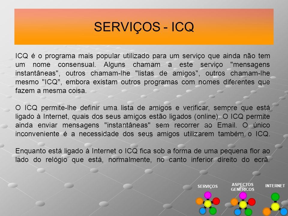 SERVIÇOS - ICQ ICQ é o programa mais popular utilizado para um serviço que ainda não tem um nome consensual. Alguns chamam a este serviço
