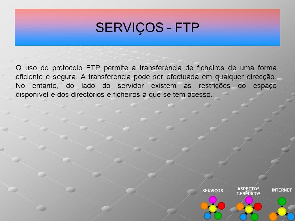SERVIÇOS - FTP O uso do protocolo FTP permite a transferência de ficheiros de uma forma eficiente e segura. A transferência pode ser efectuada em qual