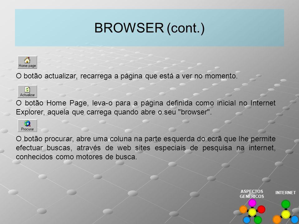 BROWSER (cont.) O botão actualizar, recarrega a página que está a ver no momento. O botão Home Page, leva-o para a página definida como inicial no Int