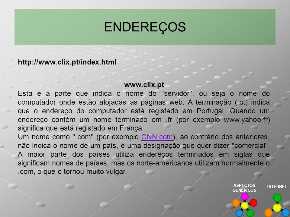 ENDEREÇOS www.clix.pt Esta é a parte que indica o nome do