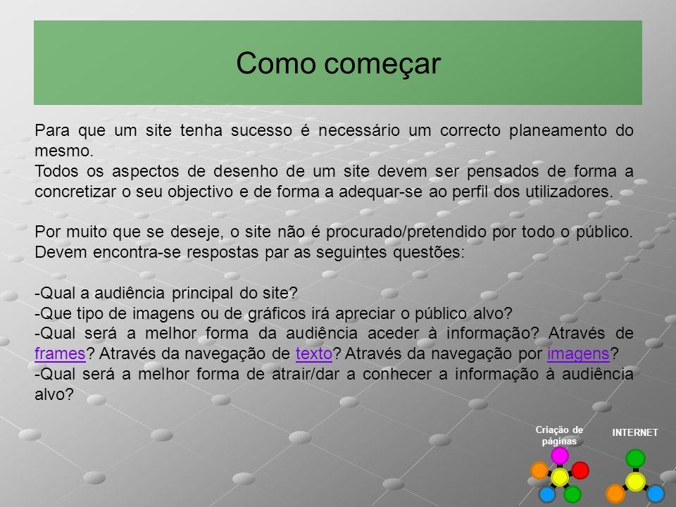 Como começar INTERNET Criação de páginas Para que um site tenha sucesso é necessário um correcto planeamento do mesmo. Todos os aspectos de desenho de