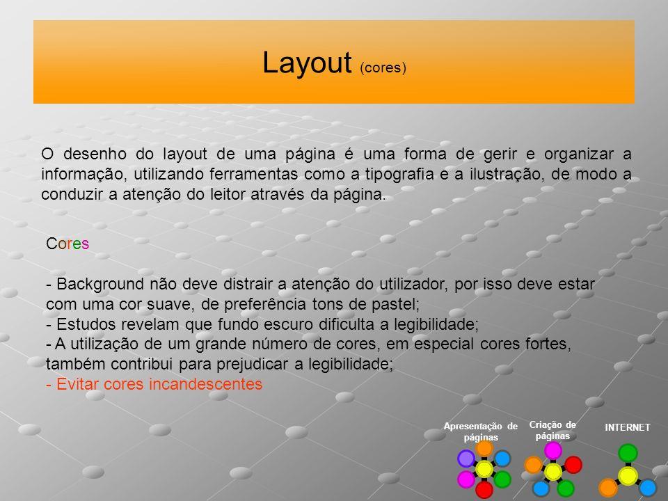 Layout (cores) INTERNET Criação de páginas O desenho do layout de uma página é uma forma de gerir e organizar a informação, utilizando ferramentas com