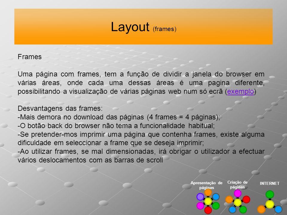 Layout (frames) INTERNET Criação de páginas Apresentação de páginas Frames Uma página com frames, tem a função de dividir a janela do browser em vária