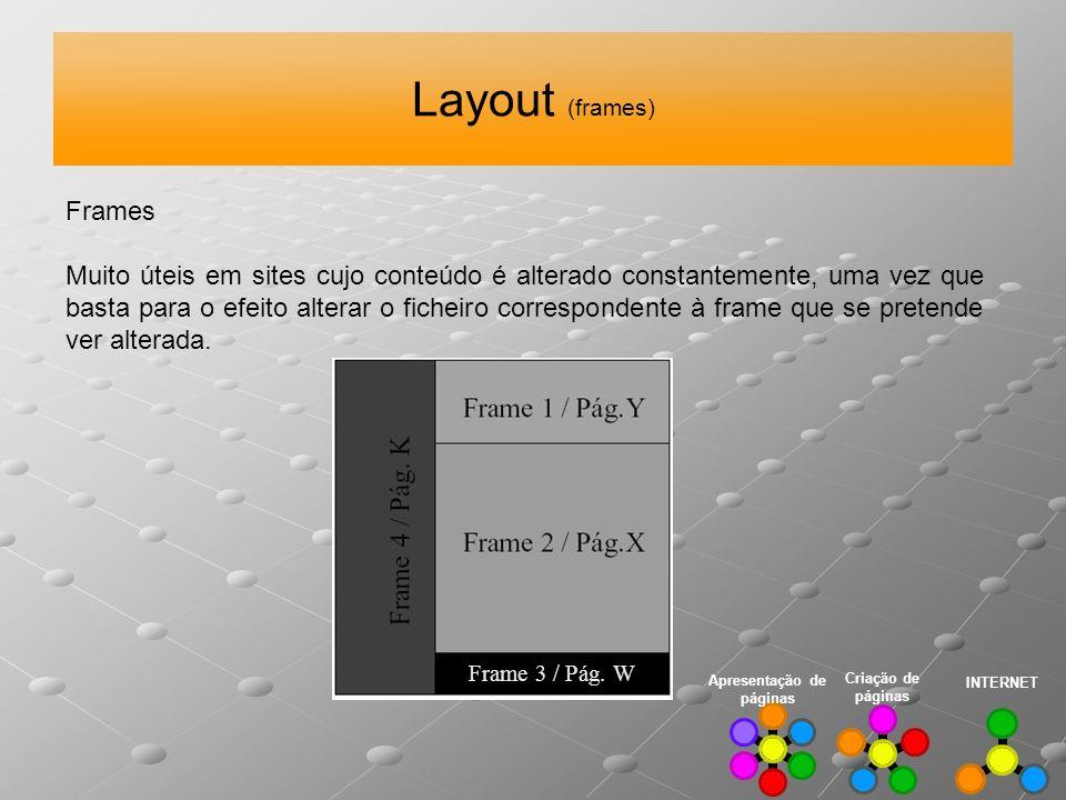 Layout (frames) INTERNET Criação de páginas Apresentação de páginas Frames Muito úteis em sites cujo conteúdo é alterado constantemente, uma vez que b