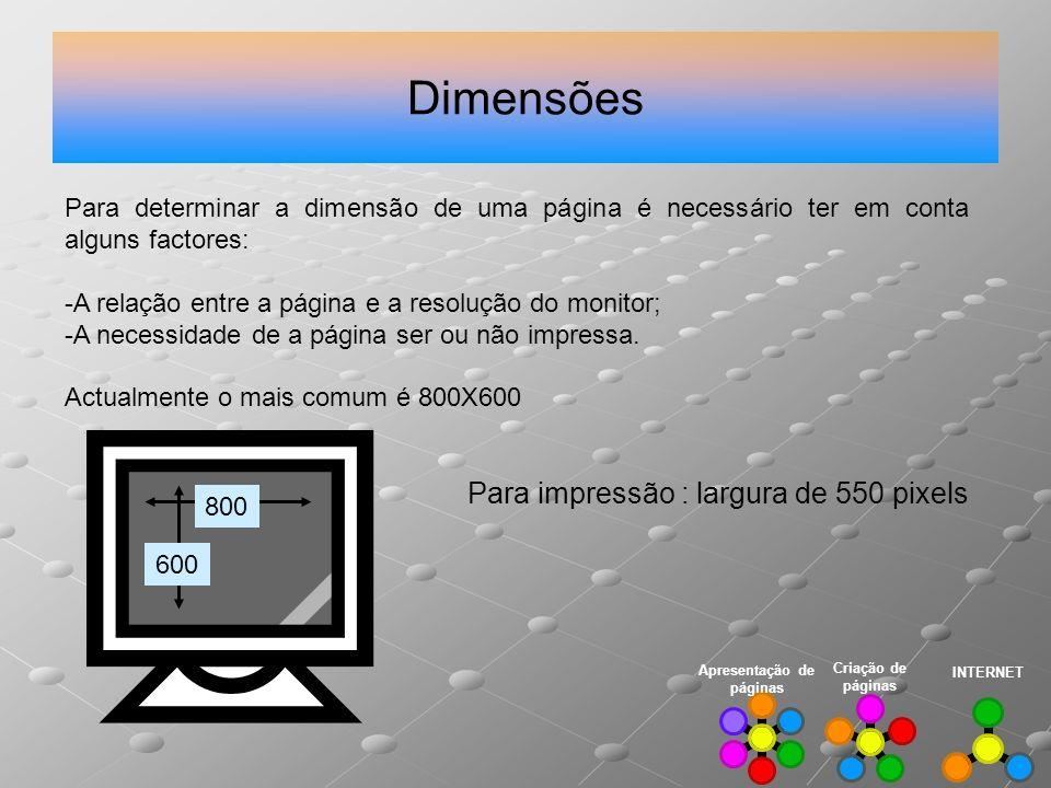 Dimensões INTERNET Criação de páginas Apresentação de páginas Para determinar a dimensão de uma página é necessário ter em conta alguns factores: -A r