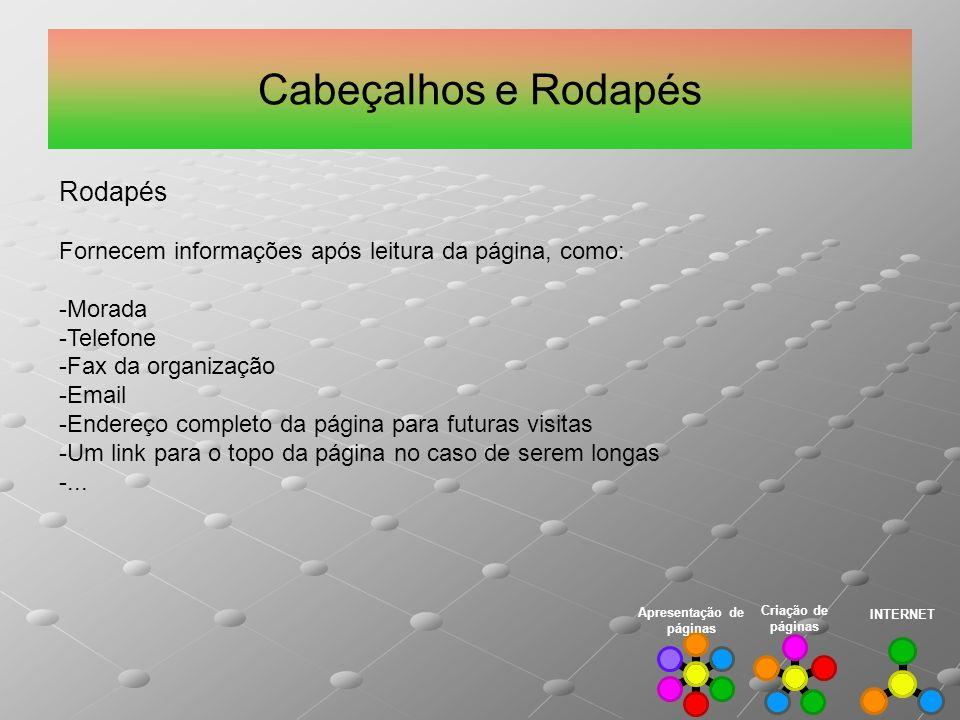Cabeçalhos e Rodapés INTERNET Criação de páginas Apresentação de páginas Rodapés Fornecem informações após leitura da página, como: -Morada -Telefone