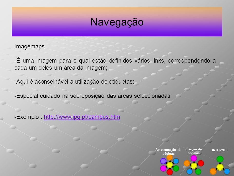 Navegação INTERNET Criação de páginas Apresentação de páginas Imagemaps -É uma imagem para o qual estão definidos vários links, correspondendo a cada