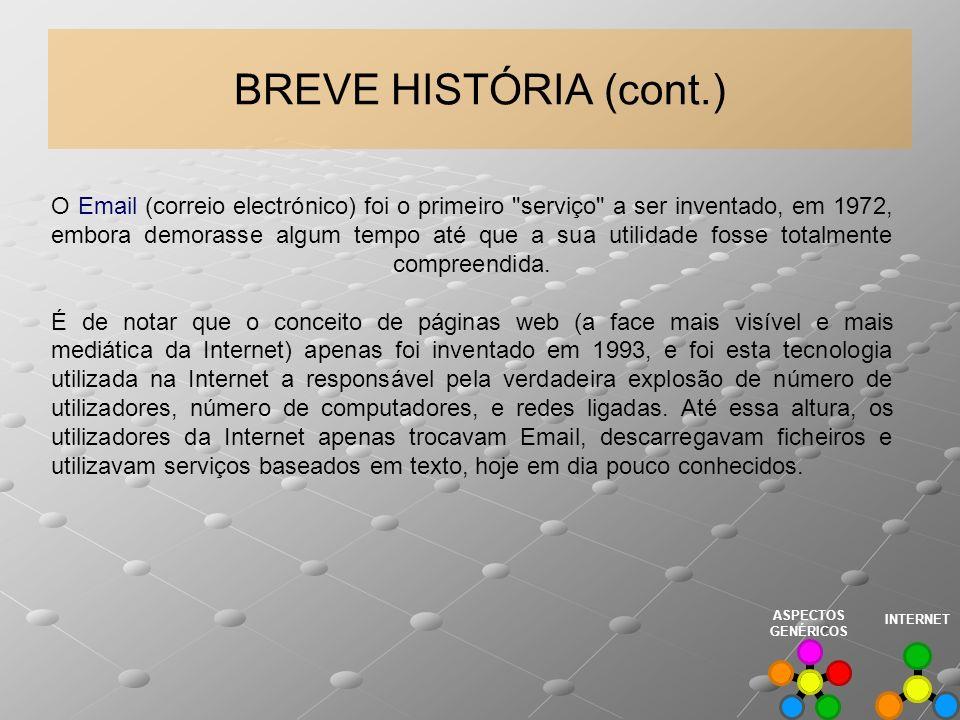 BREVE HISTÓRIA (cont.) O Email (correio electrónico) foi o primeiro