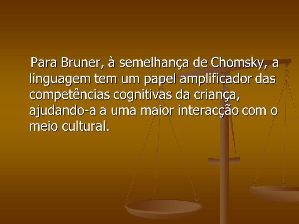 Para Bruner, à semelhança de Chomsky, a linguagem tem um papel amplificador das competências cognitivas da criança, ajudando-a a uma maior interacção