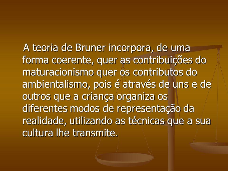 A teoria de Bruner incorpora, de uma forma coerente, quer as contribuições do maturacionismo quer os contributos do ambientalismo, pois é através de u