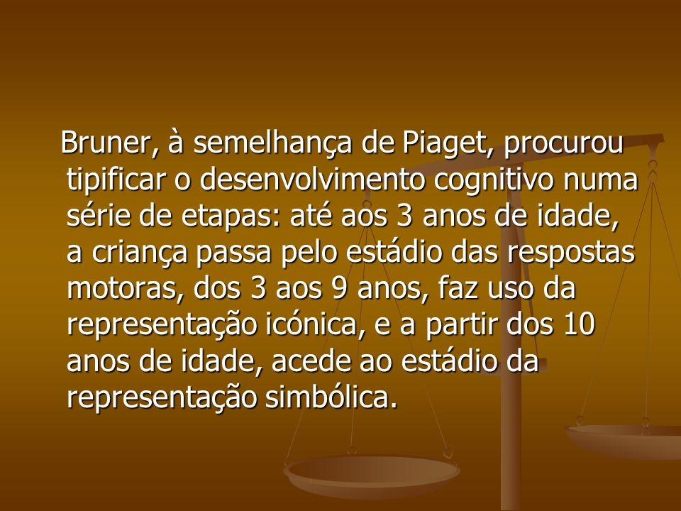 Bruner, à semelhança de Piaget, procurou tipificar o desenvolvimento cognitivo numa série de etapas: até aos 3 anos de idade, a criança passa pelo est