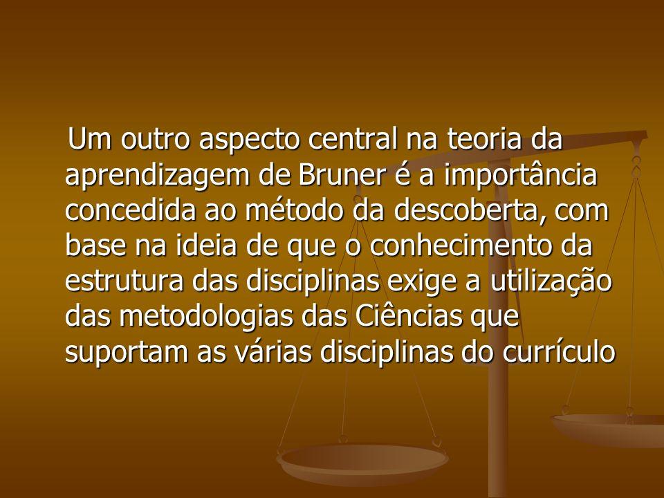 Um outro aspecto central na teoria da aprendizagem de Bruner é a importância concedida ao método da descoberta, com base na ideia de que o conheciment