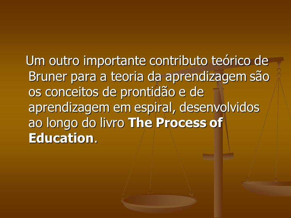 Um outro importante contributo teórico de Bruner para a teoria da aprendizagem são os conceitos de prontidão e de aprendizagem em espiral, desenvolvid